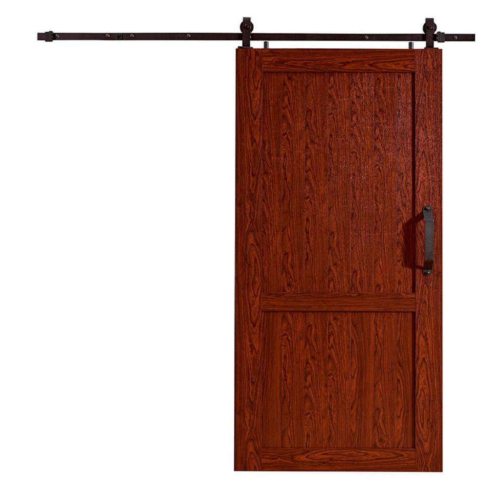 Millbrooke Cherry H Style PVC Vinyl Barn Door With Sliding Hardware Kit MLB4284CHKD