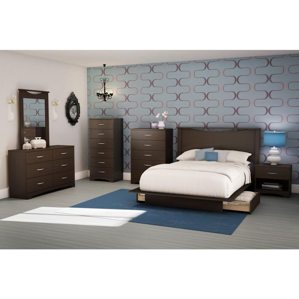 South Shore Step One 1-Drawer Nightstand in Chocolate