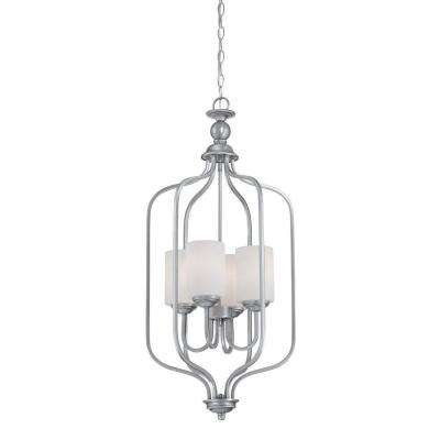 4-Light Brushed Pewter Pendant with Etched White Glass