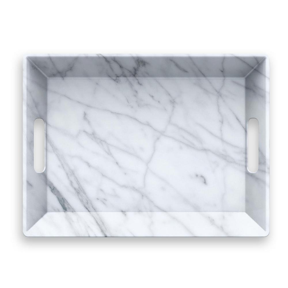Carrara Handle Melamine Serve Tray Ptu0193rstlg The Home Depot