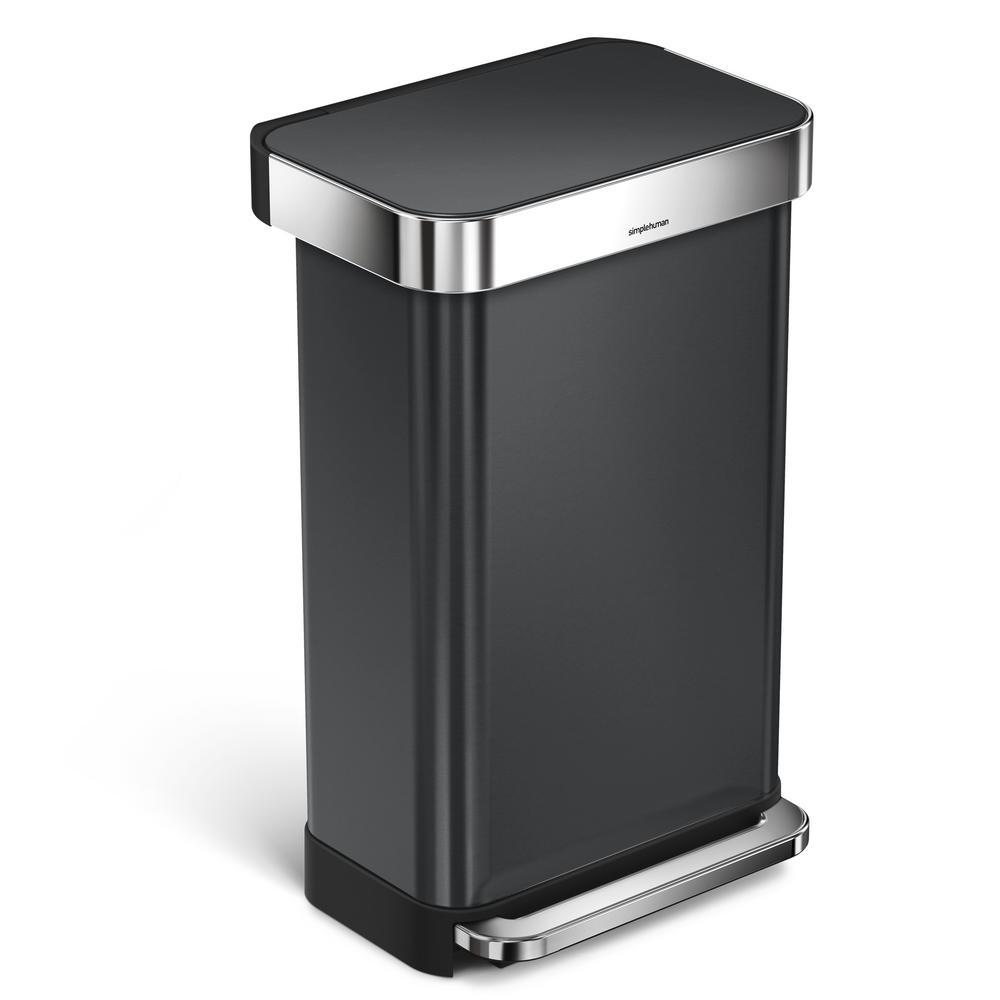 45 l black stainless steel rectangular liner rim stepon trash can