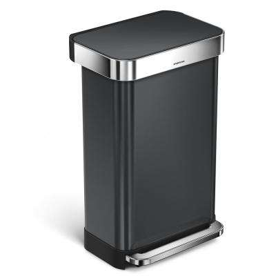 45 l Black Stainless Steel Rectangular Liner Rim Step-On Trash Can