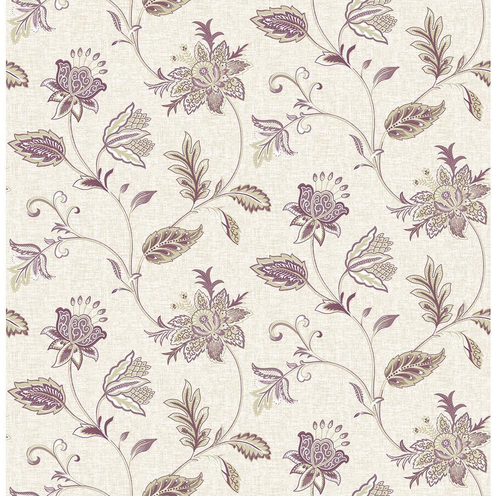 A Street Georgette Burgundy Jacobean Wallpaper Sample