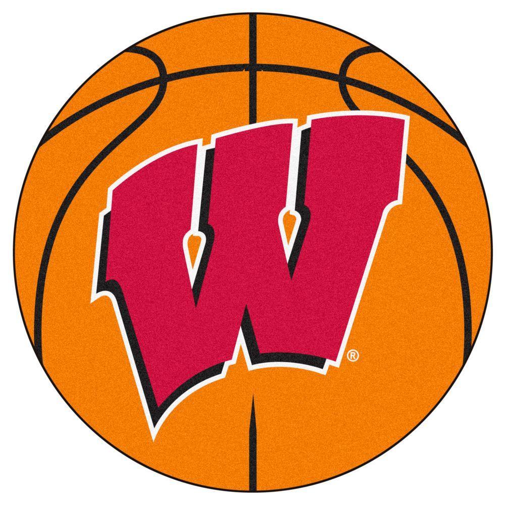 NCAA University of Wisconsin Orange 2 ft. x 2 ft. Round Area Rug