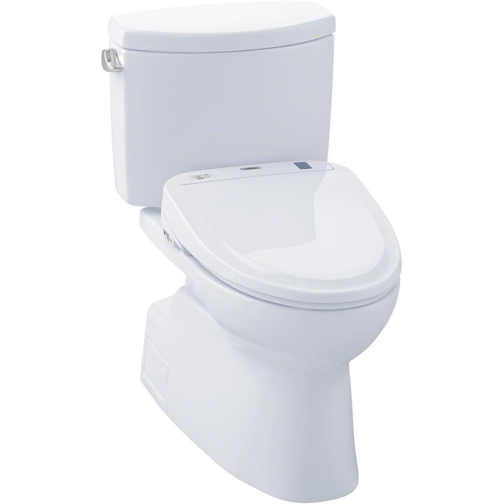 TOTO Vespin II Connect 2-Piece 1.28 GPF Elongated Toilet with Washlet S350e Bidet and CeFiOntect in Cotton White