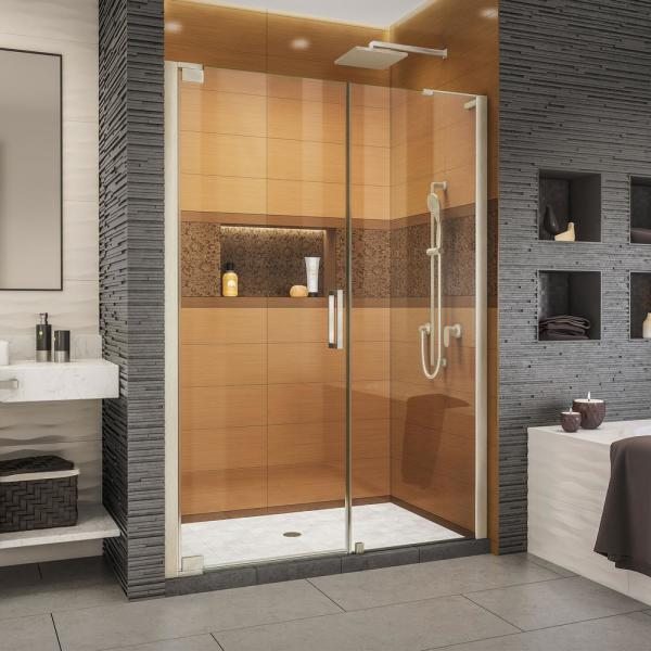 Elegance-LS 50-3/4 in. to 52-3/4 in. W x 72 in. H Frameless Pivot Shower Door in Brushed Nickel