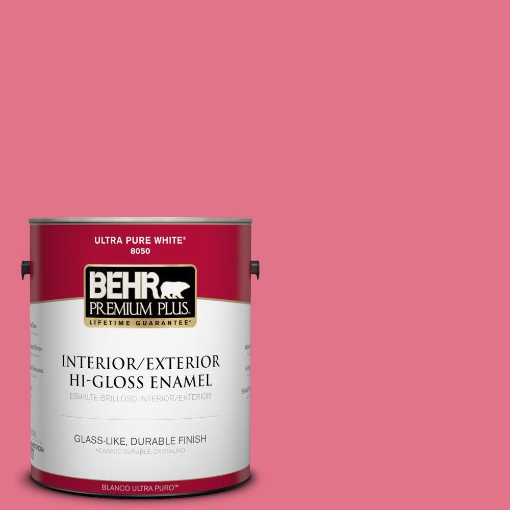 BEHR Premium Plus 1-gal. #120B-6 Watermelon Pink Hi-Gloss Enamel Interior/Exterior Paint