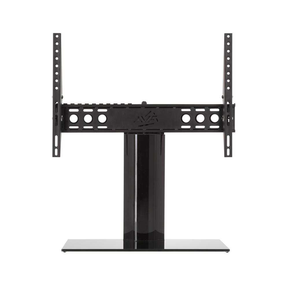 AVF Universal Table Top TV Base Adjustable Tilt and Turn for Most TVs 46 in. to 65 in., Black/Black The AVF B602BB-A is a Universal Table Top TV Stand/Base for Most TVs 46 in. to 65 in. It supports TVs up to 99 lbs. It is VESA compatible with mounting hole patterns between 100x100 and 600x400. Universal TV Bases are perfect in situations where the original TV stand has been lost or discarded (which often happens when a TV has been wall mounted). These Universal Pedestal-Style bases are also excellent, robust replacements for the widespread TV feet that are provided with some TVs. In many cases, the widespread, duck-feet, do not allow a TV to fit safely on a TV stand or other furniture. The gloss black finish compliments any TV and decor. The Tilt feature is helpful in managing glare and reflections, while the Turn feature adjusts for optimized viewing angles.