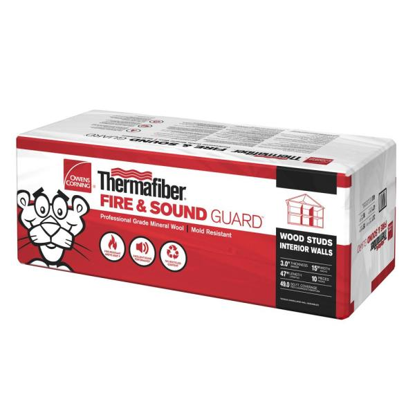 Thermafiber Fire and Sound Guard Unfaced Mineral Wool Insulation Batt 15 in. x 47 in.