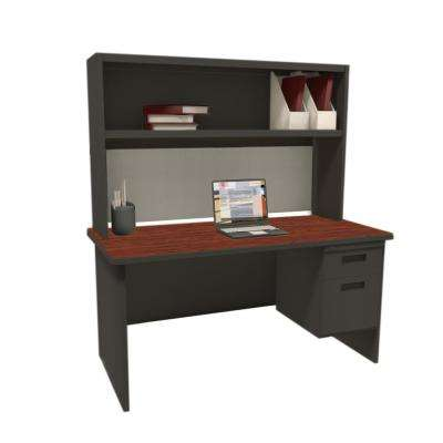 Black and Mahogany Haze 60 in. Single File Desk with Storage Shelf