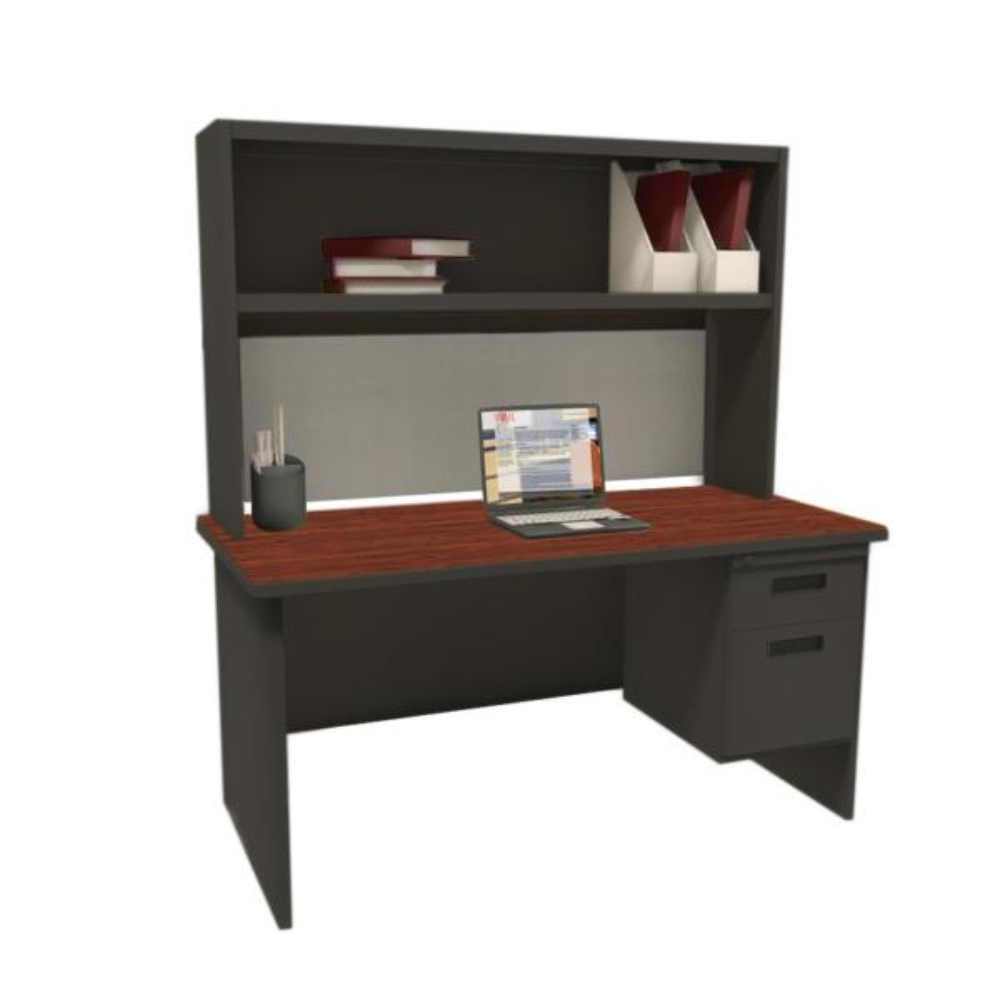 Pronto Black and Mahogany Haze 60 in. Single File Desk with