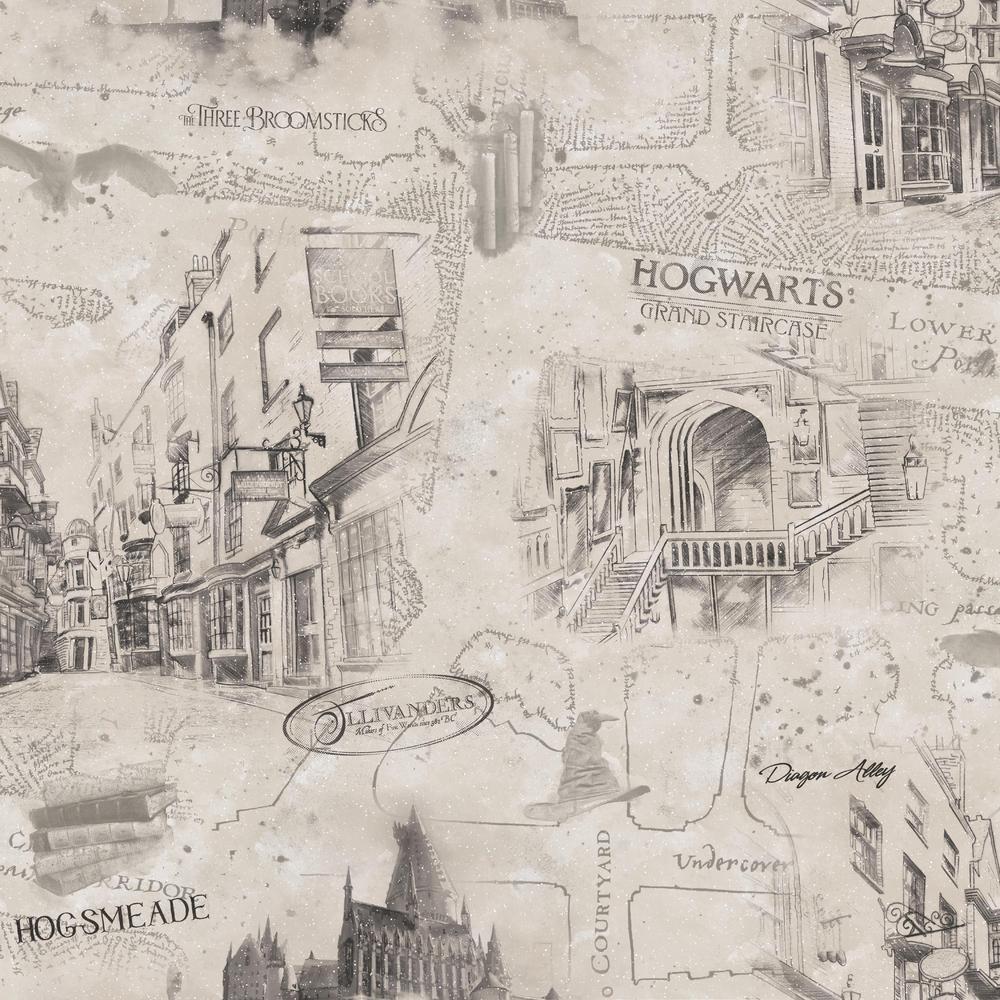 Harry Potter Map Vinyl Peelable Wallpaper (Covers 28.29 sq. ft.)