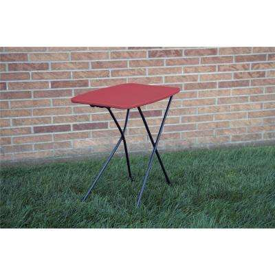 Fine 18 In Red Plastic Adjustable Height Folding Utility Table Set Of 2 Squirreltailoven Fun Painted Chair Ideas Images Squirreltailovenorg