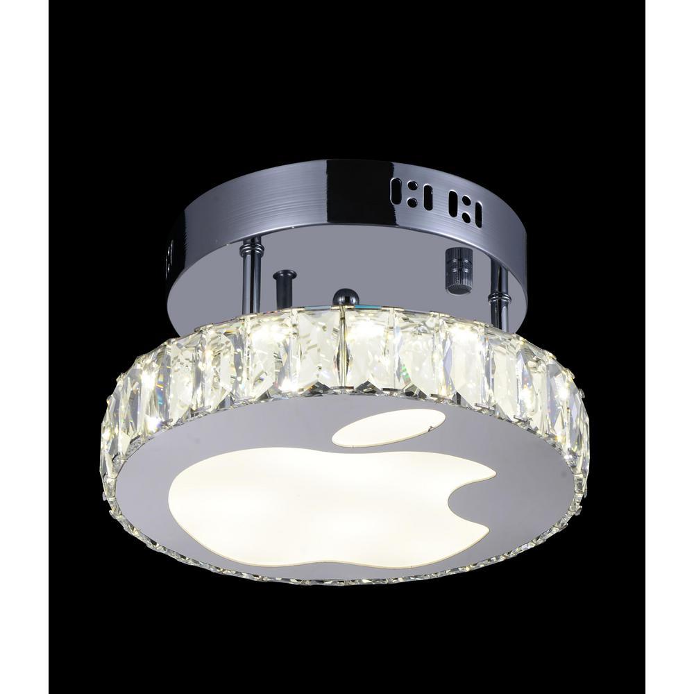 Rosemary 1-Watt Chrome Integrated LED Ceiling Semi-Flushmount