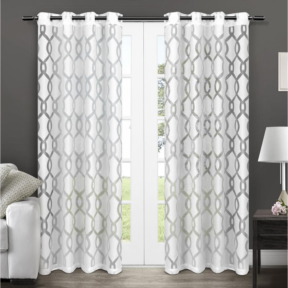 Rio 54 in. W x 84 in. L Sheer Grommet Top Curtain Panel in Winter White (2 Panels)