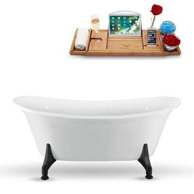 59.1 in. Acrylic Fiberglass Clawfoot Non-Whirlpool Bathtub in White