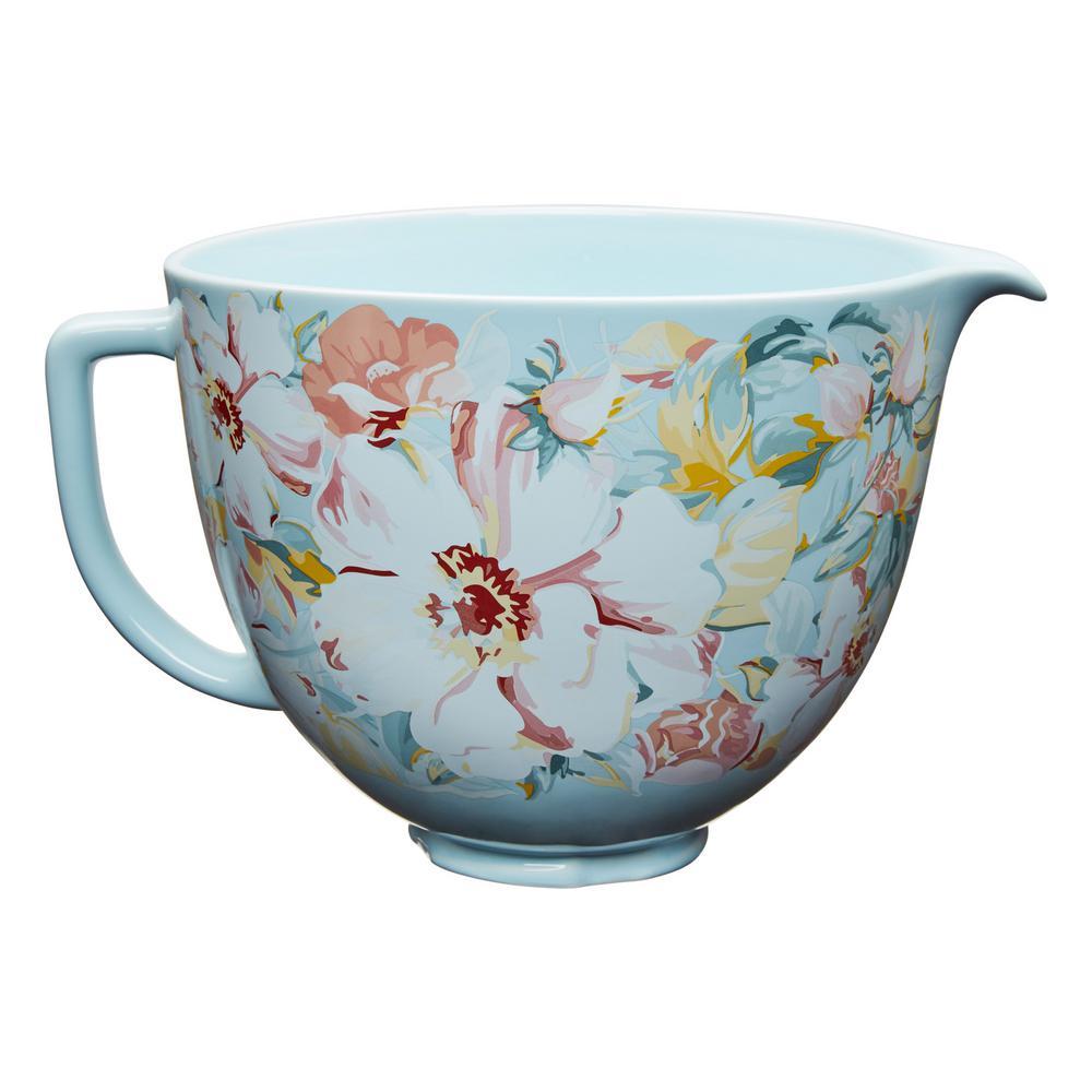 5 Qt. White Gardenia Patterned Ceramic Bowl