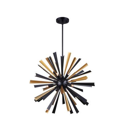 Madina 6-Light Matte Black and Gold Chandelier