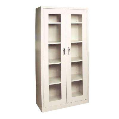 72 in. H x 36 in W x 18 in. D Freestanding Steel Cabinet with Acrylic Doors in Putty