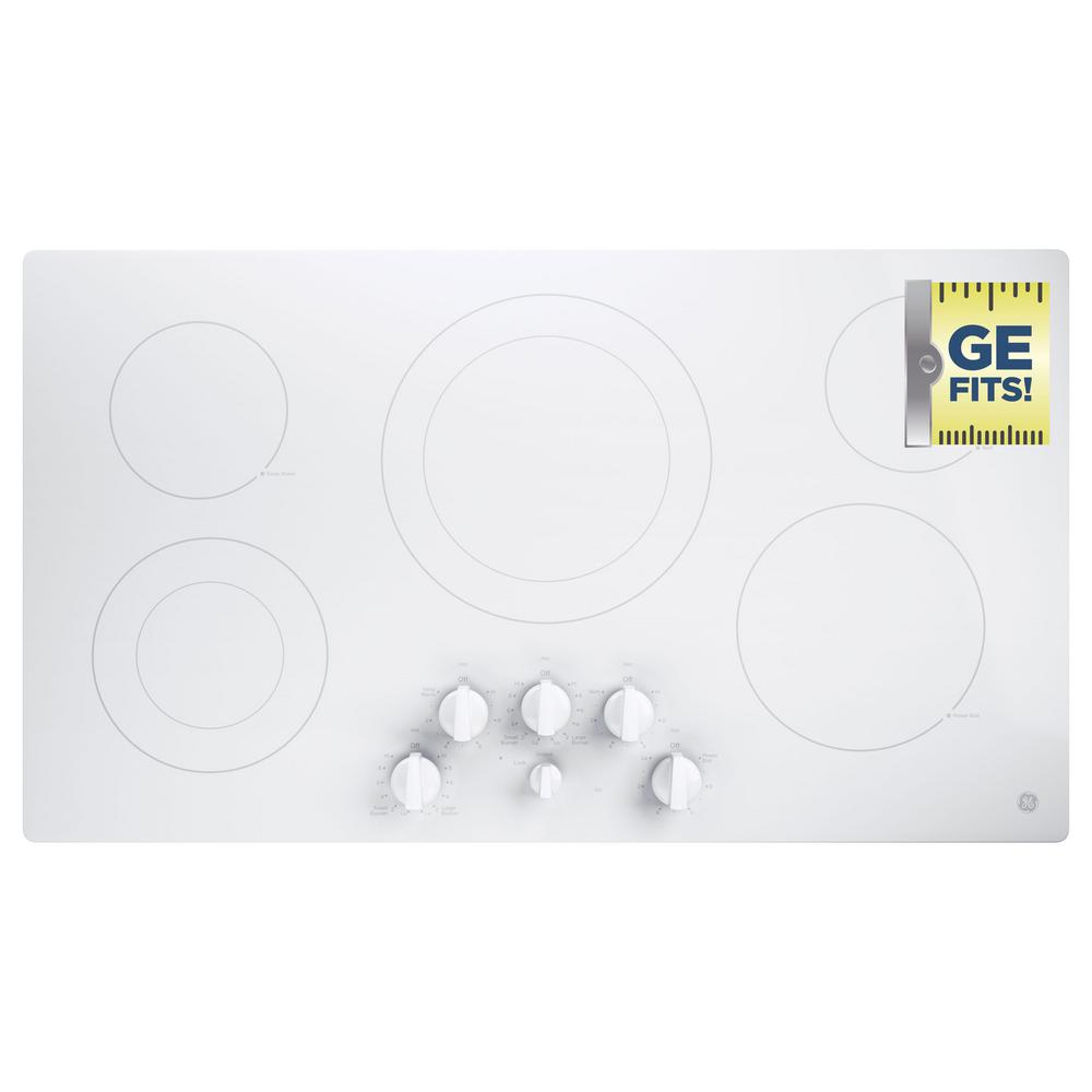 GE 36 In. Radiant Electric Cooktop In White With 5 Elements Including Power  Boil