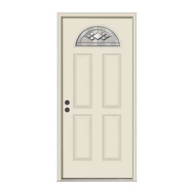 36 in. x 80 in. Fan Lite Kingston Primed Steel Prehung Right-Hand Inswing Front Door w/Brickmould