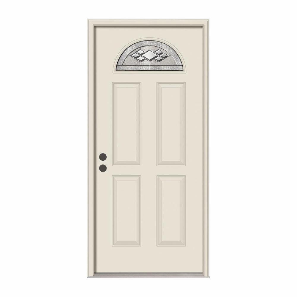 36 in. x 80 in. Fan Lite Kingston Primed Steel Prehung Right-Hand Inswing Front Door w/Brickmould