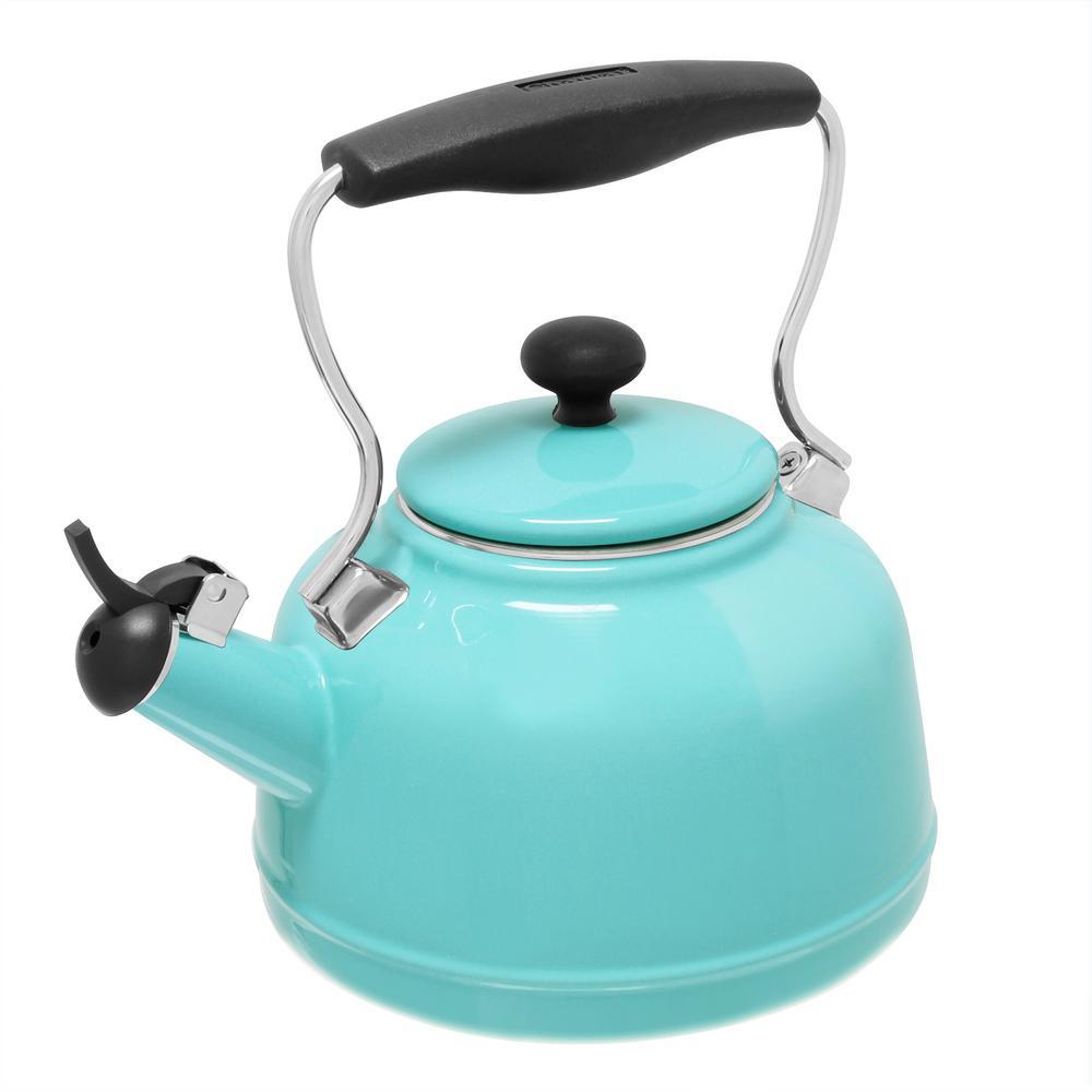 Vintage 6.8-cups Enamel-On-Steel Aqua Tea Kettle