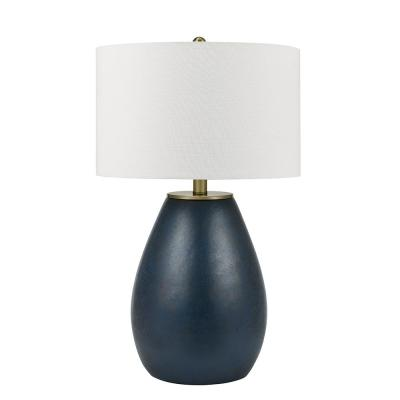 Cresswell 29.5 in. Matte Blue with Black Sponge Overlay Table Lamp and LED Bulb