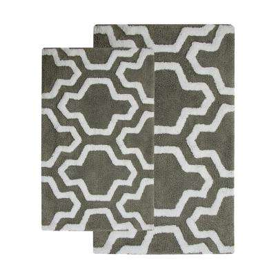 34 in. x 21 in. and 36 in. x 24 in. 2-Piece Bath Rug Set in Gray/White