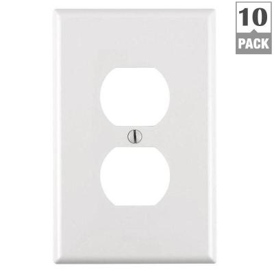1-Gang Midway Duplex Outlet Nylon Wall Plate, White (10-Pack)