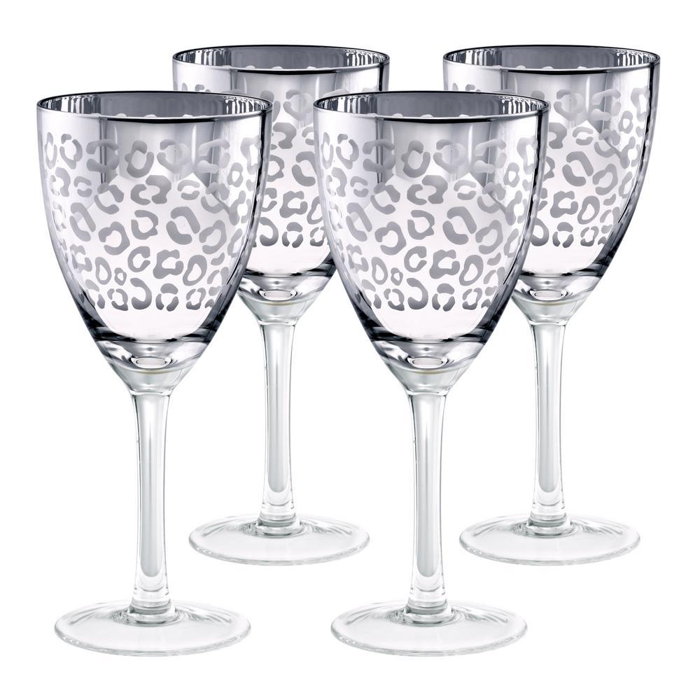 14 oz. Silver Design Wine Glass (Set of 4)