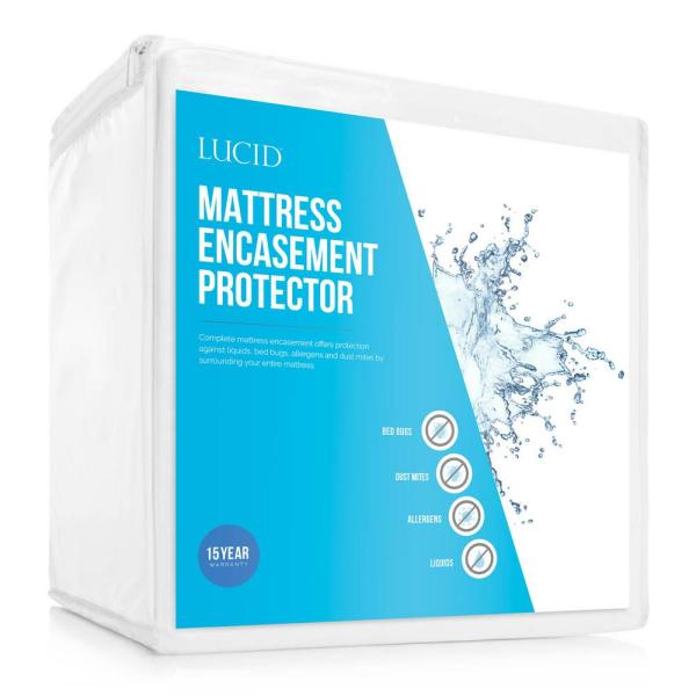 LUCID Bed Bug and Waterproof Cotton Blend Queen Encasement Mattress Protector