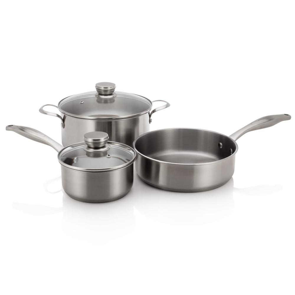 5-Piece Stainless Steel Induction Capable Cookware Set with Lids