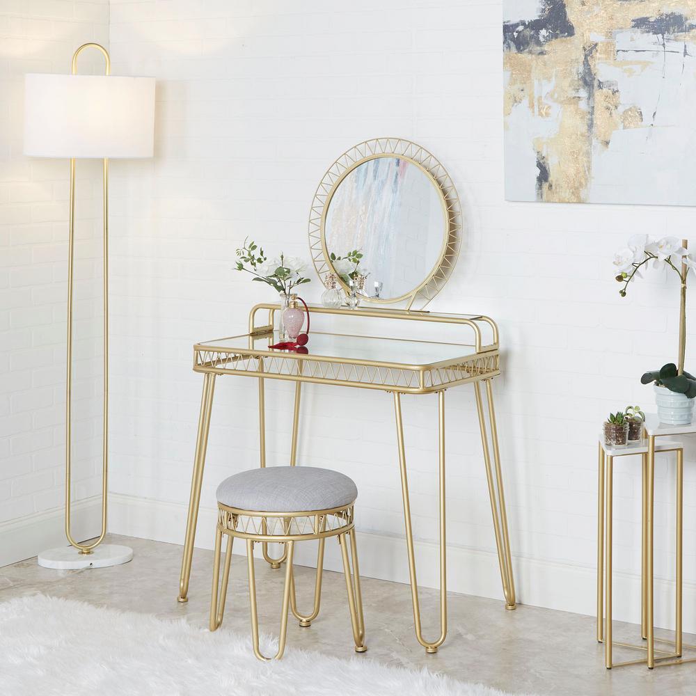 Brigitte 33.7 in. 3-Piece Gold Vanity Set with Mirror