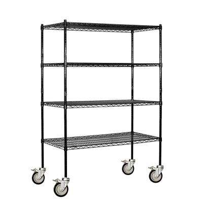 9500M Series 48 in. W x 69 in. H x 18 in. D Industrial Grade Welded Wire Mobile Wire Shelving in Black