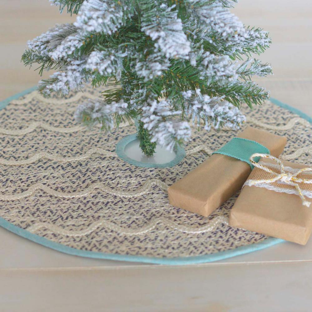 Vhc Brands 21 In Sanbourne Creme White Coastal Christmas Decor Mini Tree Skirt