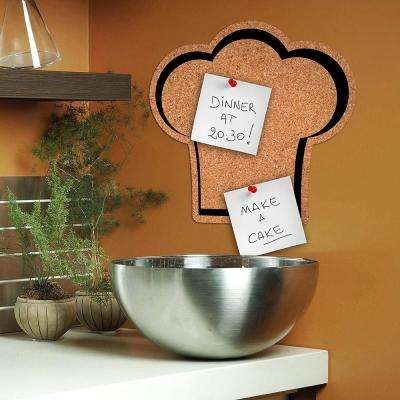 11.9 in. x 10.3 in. Brown Chef's Hat Cork Pin Board Decal