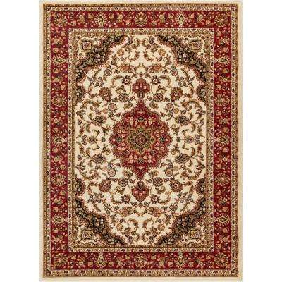 Barclay Medallion Kashan Ivory 8 ft. x 10 ft. Traditional Area Rug