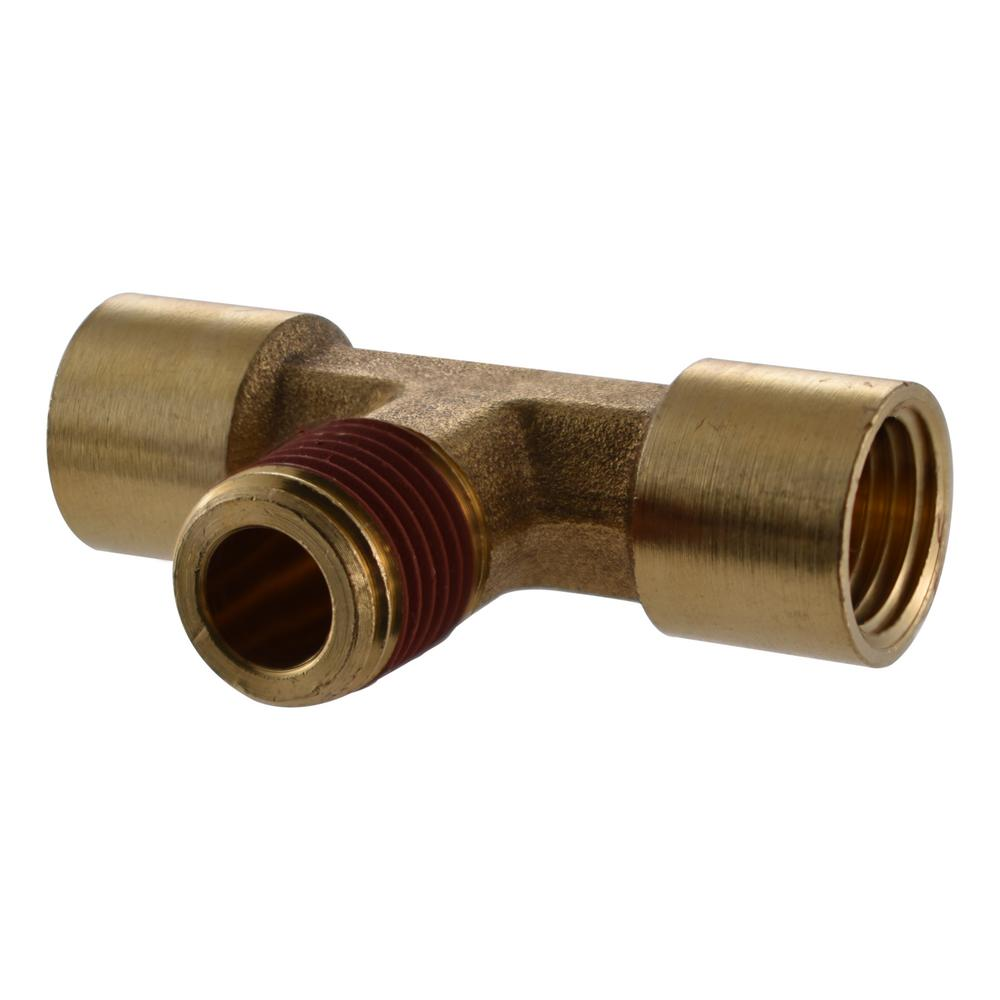 Husky 1/4 in. Female x 1/4 in. Female x 1/4 in. Male Brass Tee Fitting