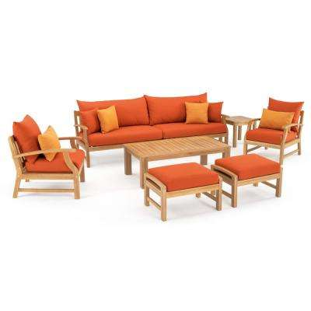 Kooper 8-Piece Wood Patio Conversation Set with Sunbrella Tikka Orange Cushions