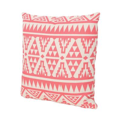 Caroline Pink Square Outdoor Throw Pillow