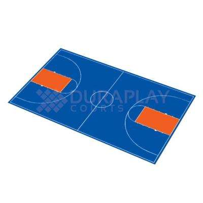 50 ft. 6 in. x 83 ft. 11 in. Royal Blue and Orange Full Court Basketball Kit