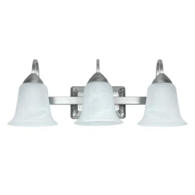 3-Light 24-Watt Warm White (3000K) Brushed Nickel Integrated LED Bath Vanity Light Fixture