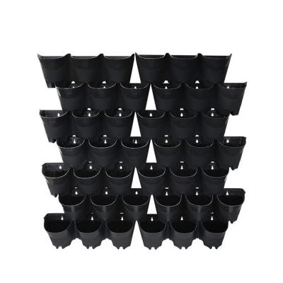 42-Pocket Plastic Self-Watering Vertical Wall-Planters (14 Sets of 3) in Black Color