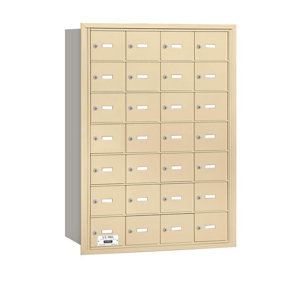 Salsbury Industries 3600 Series Sandstone Private Rear Loading 4B Plus Horizontal Mailbox with 28A Doors