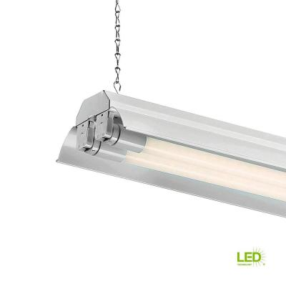 SHOPLED 6FT Linkable LED Utility Shop Lights for Garage Plug and Play 4 Pack LED Tube Ceiling Light T8 Integrated Single Fixture Basement Clear Lens 7020lm V Shape Offices 54W 6000K