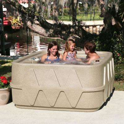 AR-400P 4-Person Spa with Ozone, Heater and 14 Jets in Stainless Steel, and LED Waterfall in Cobblestone (120/240-Volt)