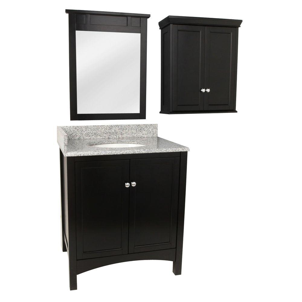 Foremost haven 31 in vanity in espresso with granite for Vanity top cabinet