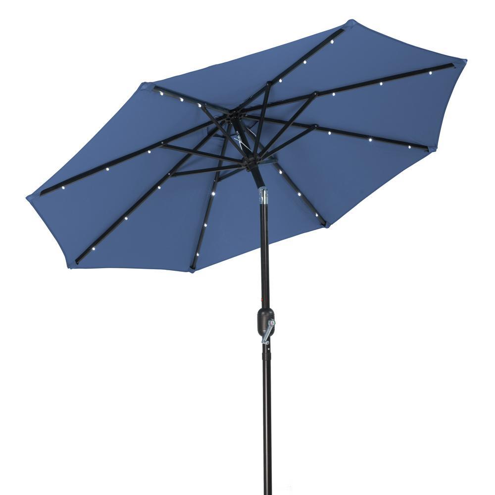 7 ft. Solar LED Patio Umbrella in Blue
