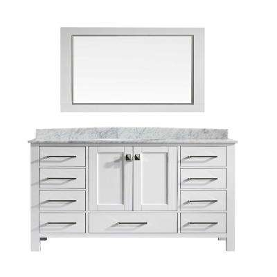 Aberdeen 60 in. W x 22 in. D x 34 in. H Vanity in White with Porcelain Top in White with White Basin